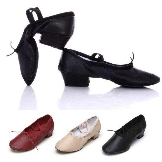 Ballett Schuh Mit Heels Frauen Dame Mädchen Lehrer Tanz Schuhe Ballett Leder Chunky Ferse Schwarz/Rosa/Rot