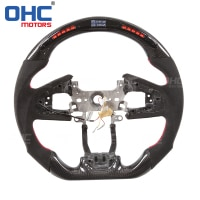 Real Carbon Fiber LED Steering Wheel compatible for Honda Civic LED Performance