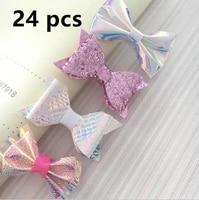 24 pcsset new fashion summer princess hairgrips hair bows hairpins dance party bowknot hair clip girls hair accessories r2