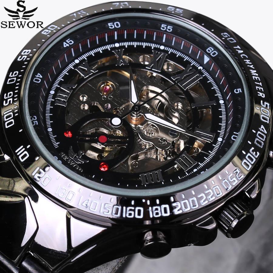 2017 New SEWOR Luxury Brand Men Watches Automatic mechanical Watch Fashion Casual Male Sports Clock Full Steel Wrist watch