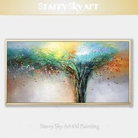 artist hand painted high quality colorful tree oil painting on canvas beautiful abstract tree oil painting for wall decoration