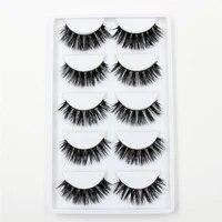 lehuamao 3d mink eyelashes false lashes 5 pairs natural extension long cross thick mink lashes handmade volume eye lashes k01