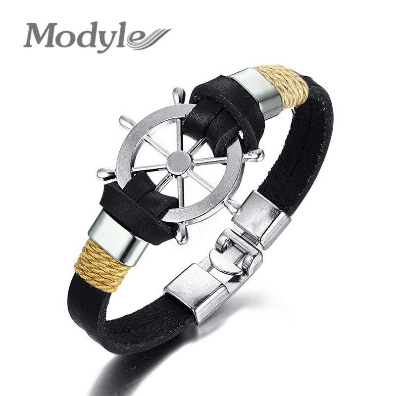 ¡Novedad de 2020! Pulsera para hombre Modyle con timón a la moda, brazalete de doble capa de cuero Clásico, joyería deportiva de navegación diaria