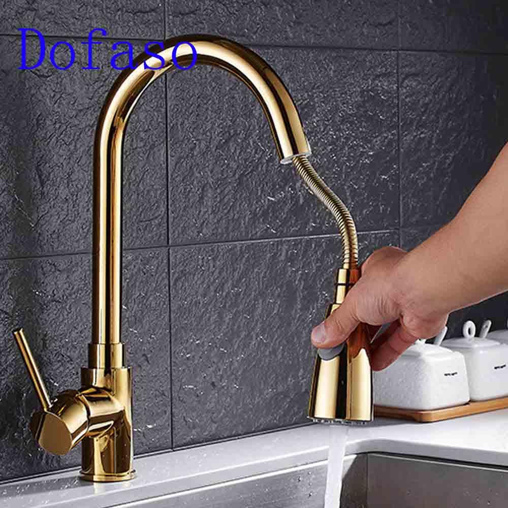 Dofaso медные золотые краны выдвижной кухонный кран Смеситель для холодной и горячей воды краны pull down