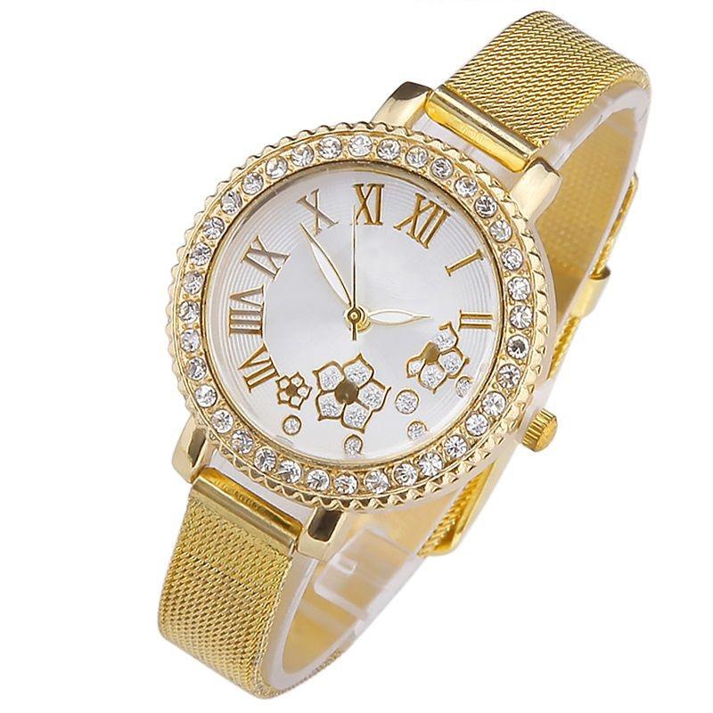 Gnova, reloj de pulsera de color dorado plateado de platino con diamantes de imitación con esfera de flor romana de lujo, reloj de pulsera informal para mujer, reloj de vestir