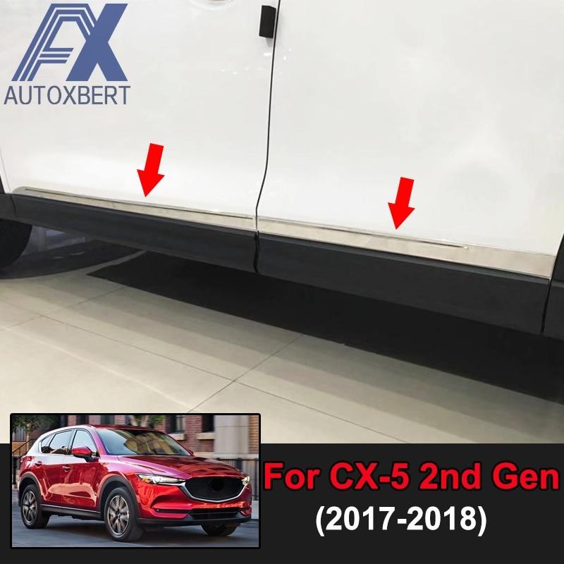 AX سيارة التصميم الكروم الباب الجانب خط الجسم صب مقبلات غطاء الكسوة قطاع الديكور المقاوم للصدأ لمازدا Cx-5 Cx5 KF 2017 2018