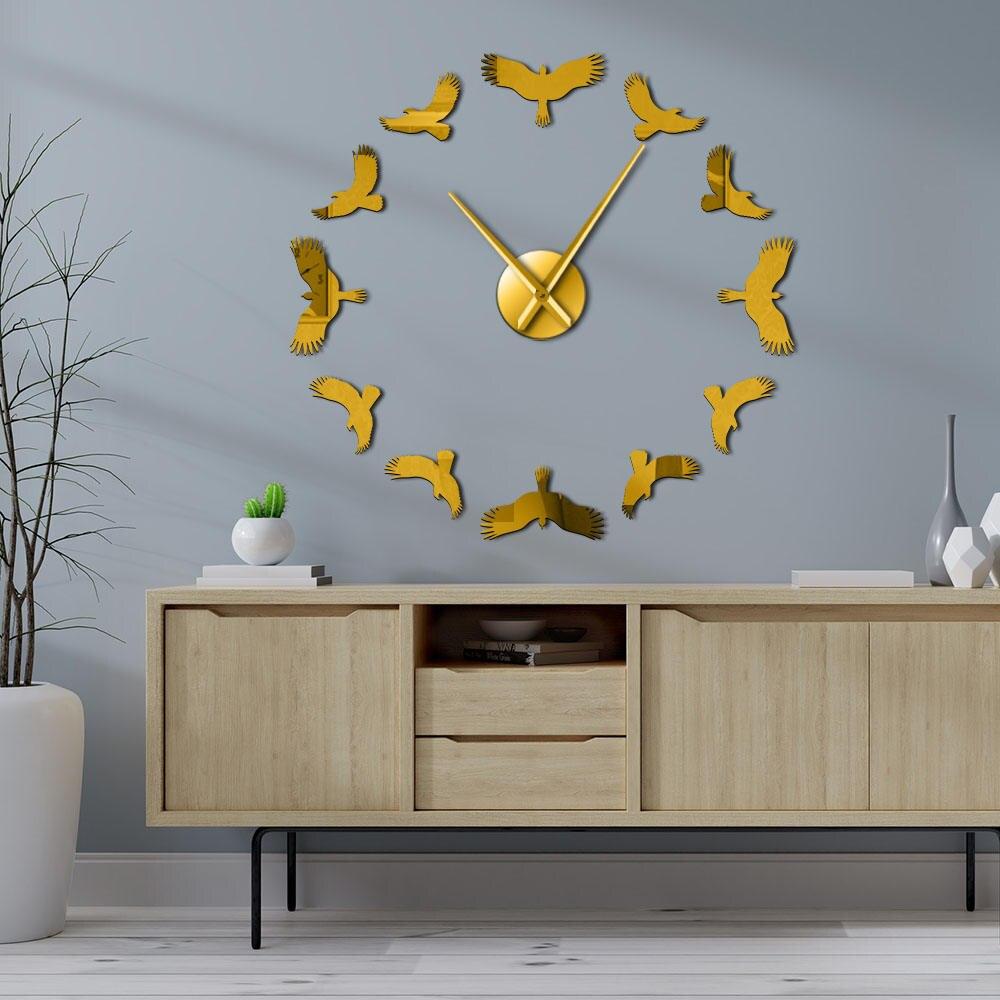 Aves voadoras 3d diy relógio de parede águia pássaro voando alto no céu vida selvagem natureza silencioso relógio de parede de quartzo com efeito espelho
