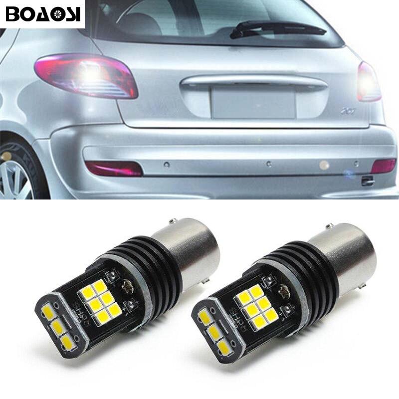 2x1156 P21W Canbus Error gratuito 3030 Chips LED Bombilla inversa luz trasera para peugeot 307, 206, 2008, 207, 308, 4008, 508, 5008, 301