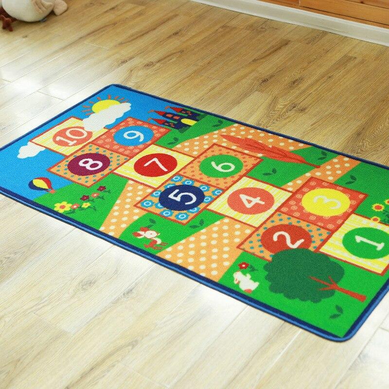 Alfombra para dormitorio infantil, alfombra Rectangular lavable para saltar con celosía, alfombra para gatear en casa