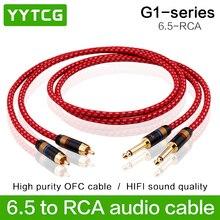 YYTCG 1 paire Hifi 6.35mm à RCA câble haute qualité 4N OFC double 6.35mm mâle à double RCA mâle câble Audio