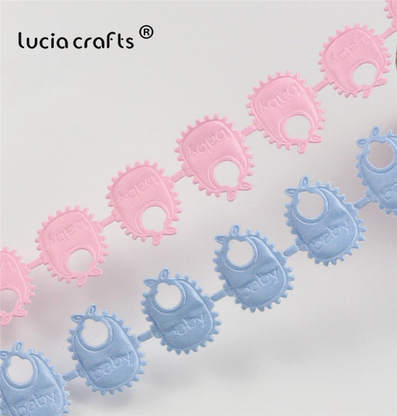 Delantal de bebé de 24mm, accesorios de costura de ropa DIY hechos a mano con encaje, 2y/lote P0609