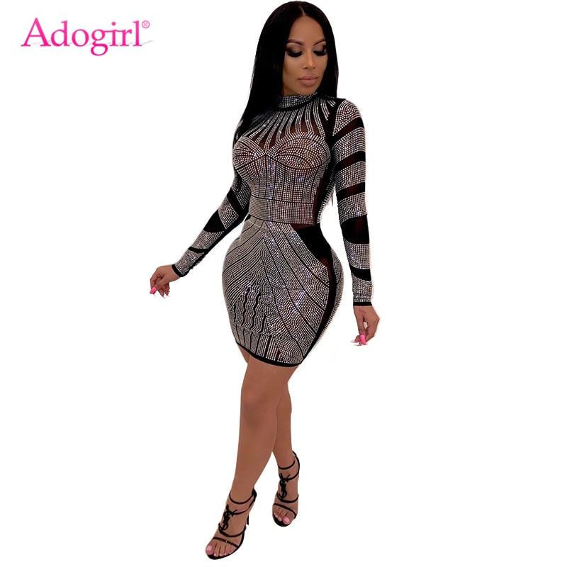 Adogirl Diamonds Sheer Mesh Bodycon Club Dress Mock Neck Long Sleeve Sheath Mini Performance Party Dresses Women Fashion Outfits
