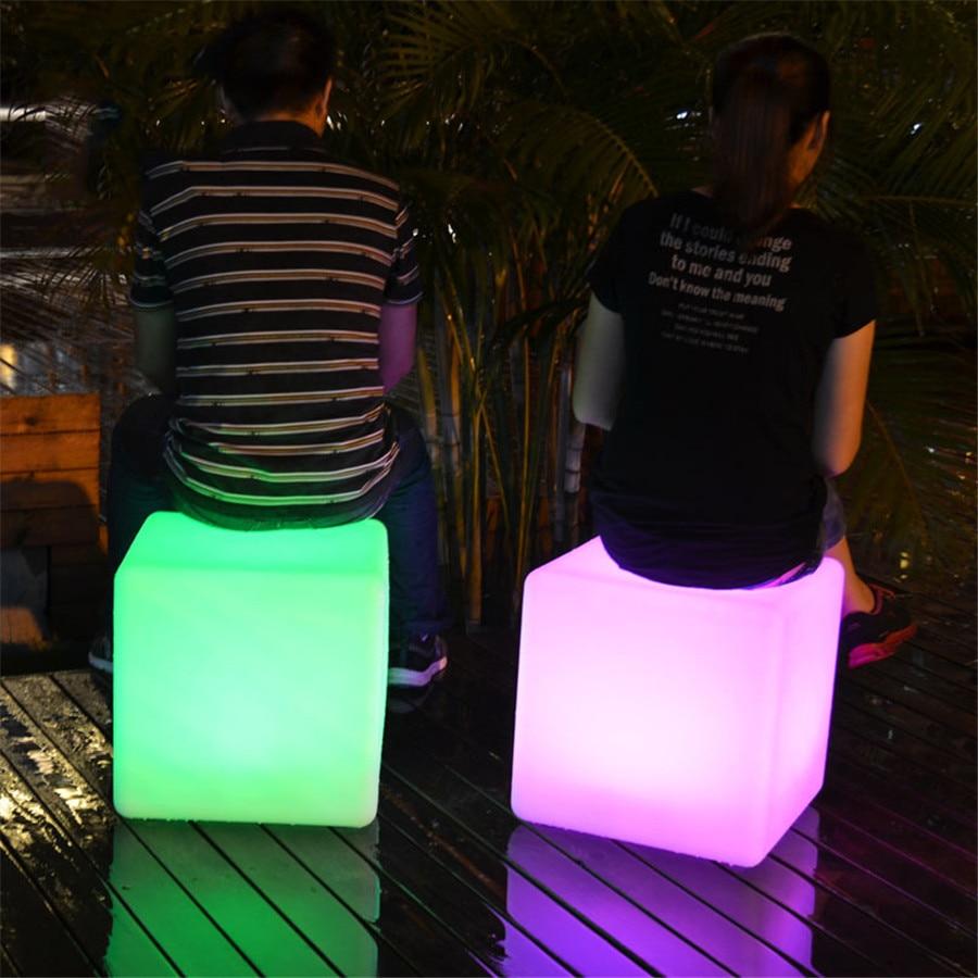 Thrisdar 30CM 40CM Led illuminated Furniture Bar led Cube Seat Chair Night light Outdoor Bar Stools Plastic Table Lamps enlarge