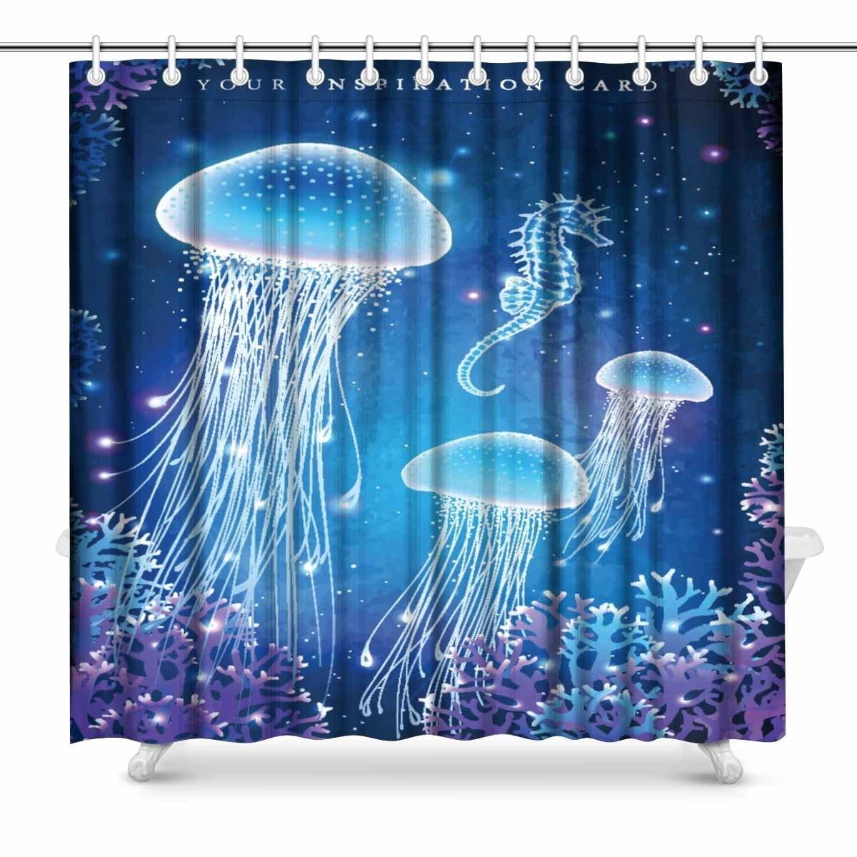 Set de cortina de ducha de decoración submarina para baño de Aplysia Magic Medusa resplandeciente
