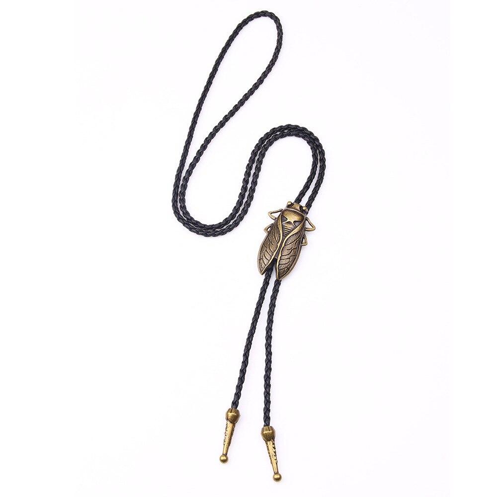ZIRIS 2018 New punk Trendsmax Cowboy Black Leather Necklace Bronze Cicada Bola Bolo Tie Pendant Necklace For Men Women