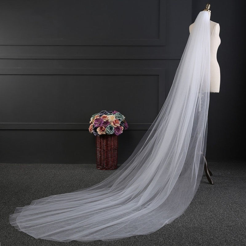 Velo de novia de 3 metros, 2 capas, Simple velo de novia con peine, elegante velo de novia Blanco/Marfil