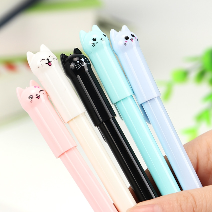 cute cat rabbit gel pens set kawaii stationery gel ink pens for kids gifts writing pen stationery caneta escolar school supplies 1PC Cute Kawaii Black Ink Cat Gel Pen Cartoon Plastic Gel Pens for Writing Office School Supplies Stationery