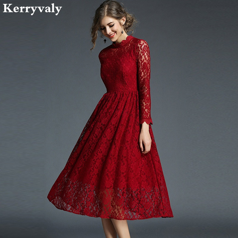 Nouvel an printemps rouge dentelle Robe De noël Robe De soirée Longue 2020 Robe Vintage femmes rendre Robe Kerst Jurk Ropa Mujer K8108