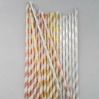 ipalmay 1000pcs party favor stripedsolid paper straws shiny rose gold silver wedding drinking decorations suppliesbaby showers