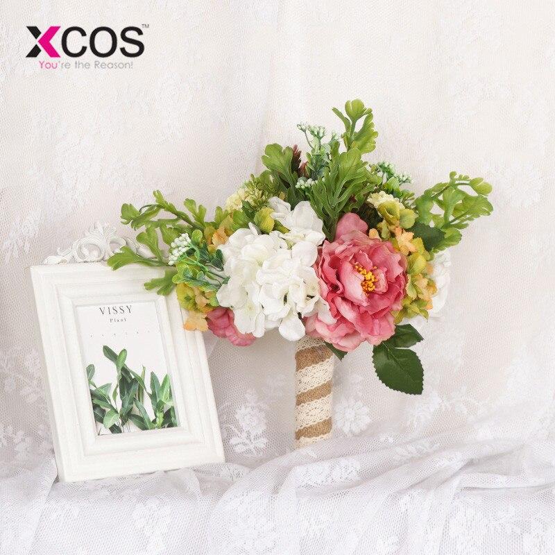 Flores artificiales XCOS rosas de satén flores de novia ramos de novia nuevas flores de boda ramo de novia rústico