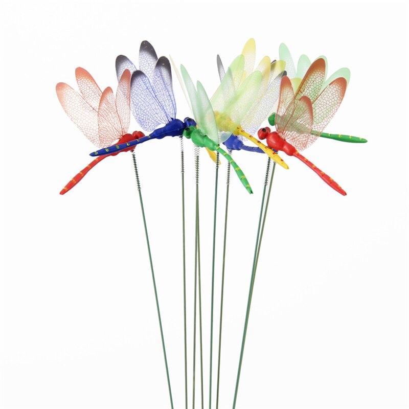 10 unids/pack de libélula Artificial 3D mariposas decoración de jardín simulación al aire libre libélula estacas patio césped planta decoración palo
