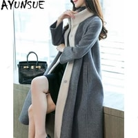 ayunsue double side wool coat female alpaca long coat 2020 autumn winter jacket women korean woolen coats casaco feminino my