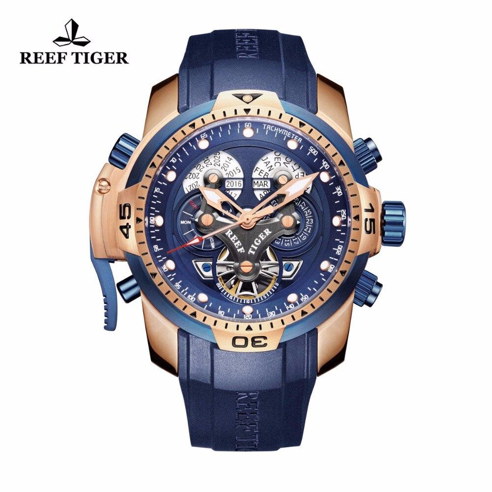 Relógios para Homens em Ouro Mostrador do Relógio Recife Tigre Militar Rosa Mostrador Azul Relógio Grande Calendário Perpétuo Relógios Automáticos Rga3503 – rt