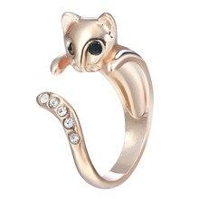 Kinitial Schwarz Gold Kristall ringe Verstellbar Elegante Katze ringe Tier index Finger Ring claddagh ringe Für Frauen mode anillos
