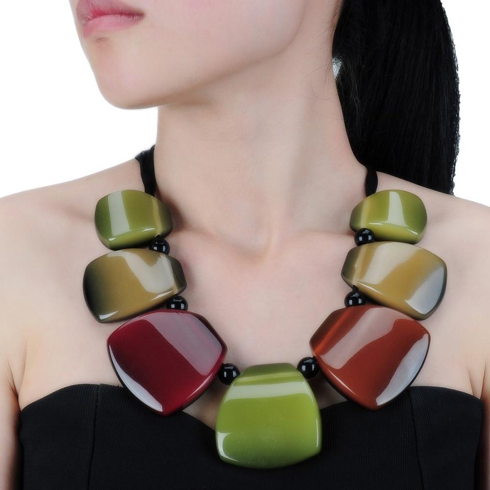 Novedad, joyería de moda, cadena de cuerda de resina, Collar COLGANTE colorido, Gargantilla, Collar para chicas, joyería de collares llamativa para mujeres