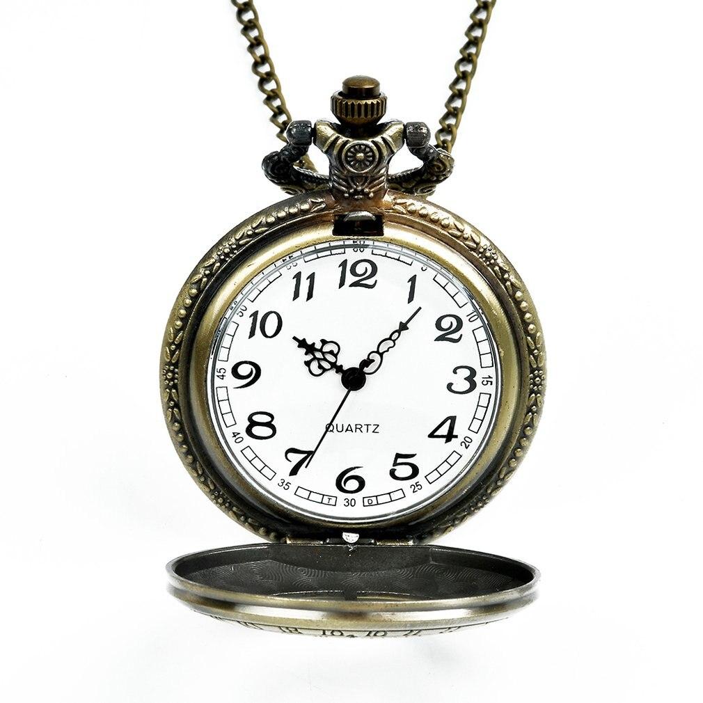 Quente grande bolso relógio de bronze elemento retro relógio de bolso design clássico das mulheres moda relógio de bolso de quartzo presente criativo
