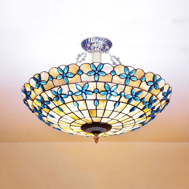 Mediterráneo Continental Lila colgante luces Pantalla de vitral 40/52/60 cm lámpara de suspensión iluminación de bar de interior
