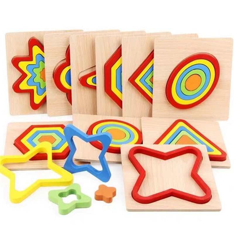 colorful cognition board kids montessori educational toy children wooden jigsaw color match game board puzzles child wooden toy Shape Cognition Board Children's Jigsaw Puzzle Wooden Toys Kids Educational Toy Baby Montessori Learning Match Bricks Toys