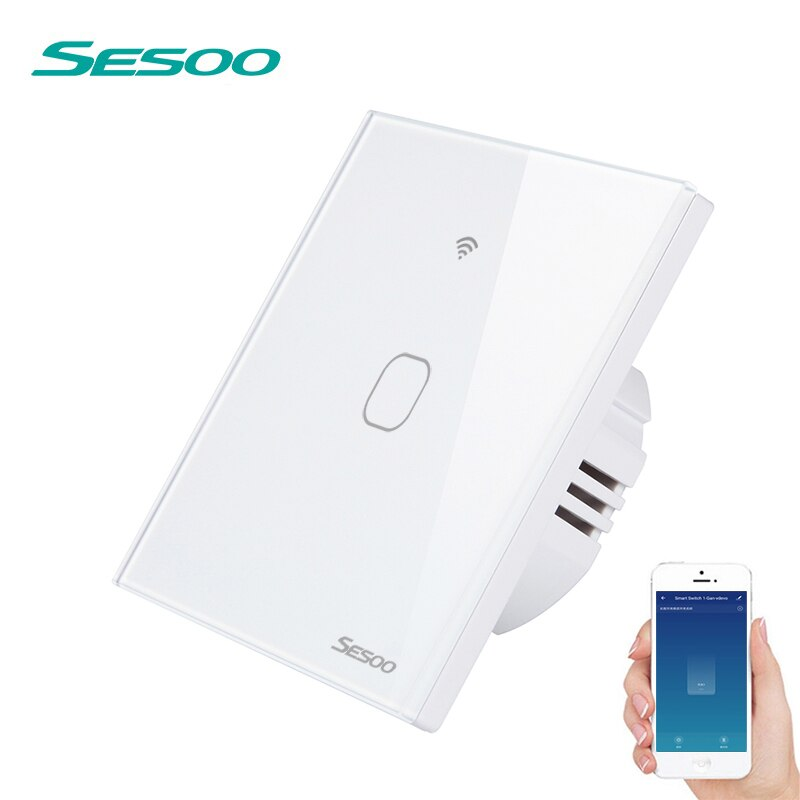 Interruptor de luz de pared inteligente SESOO Wifi 1 Gang aplicación remota hogar inteligente cambio de trabajo táctil de pared con Alexa/Google Home