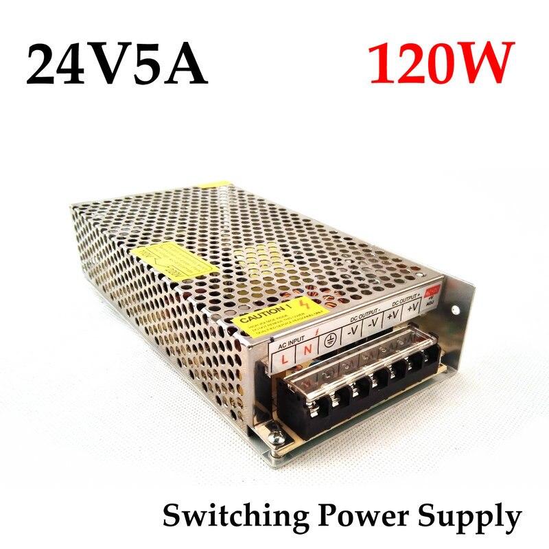 Бесплатная доставка, 24VDC 5A 120 Вт драйвер импульсного источника питания для камеры монитора/Светодиодная лента 100 ~ 240 В переменного тока на 24 В постоянного тока