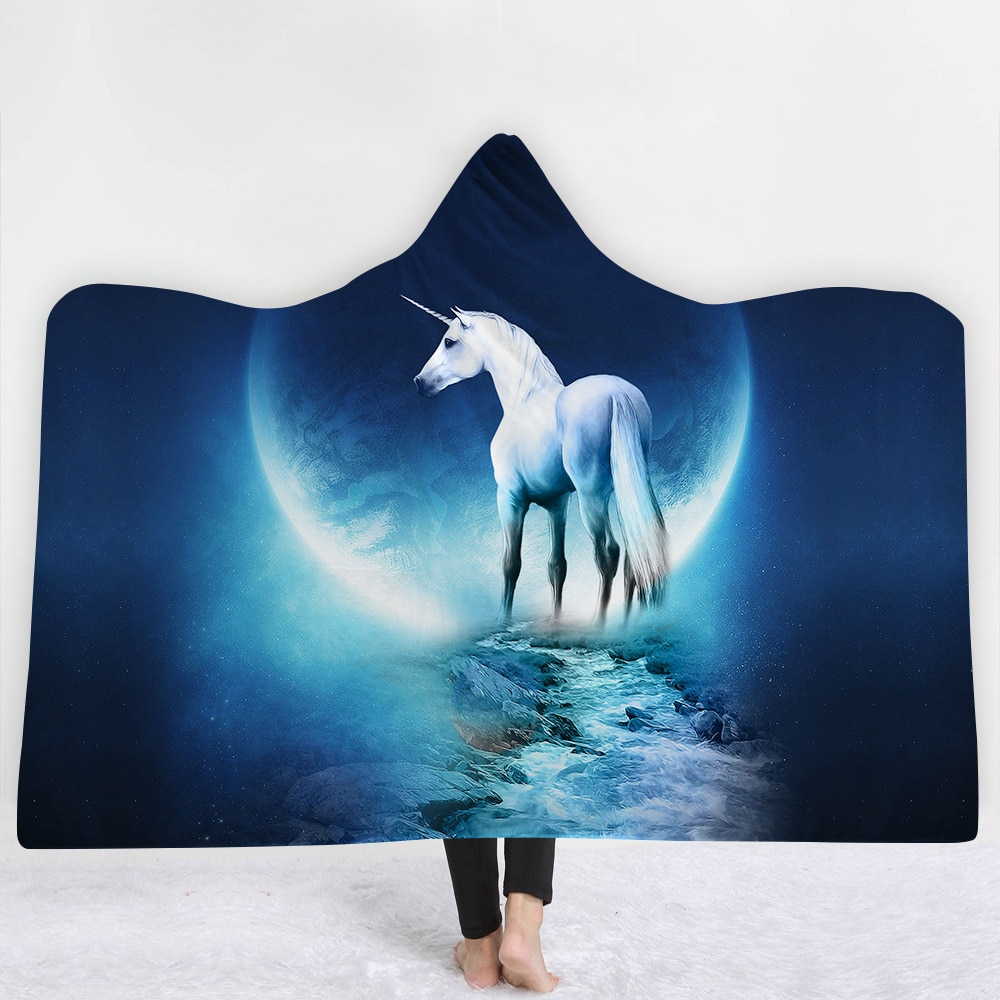 1-Piece 3D Printed Hooded Blanket Unicorn Fleece Hooded Blankets For Adult Wearable Blanket Throw
