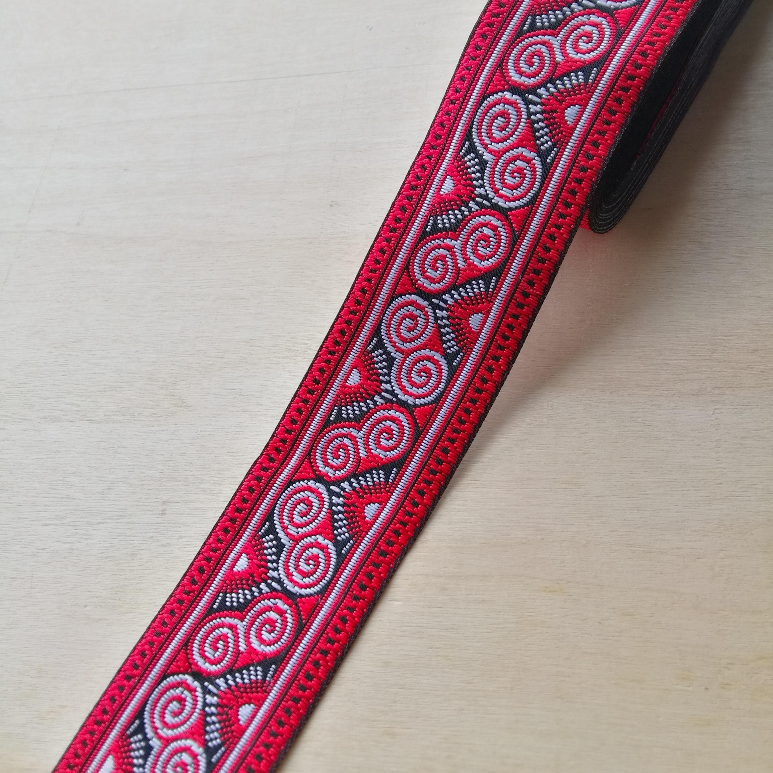 4cm 40mm 1-5/8 Red Branco Clássico Nascer do Sol Símbolo Antílope Chifre Miao Traje Fita Laciness nacional Correias Jacquard Rendas
