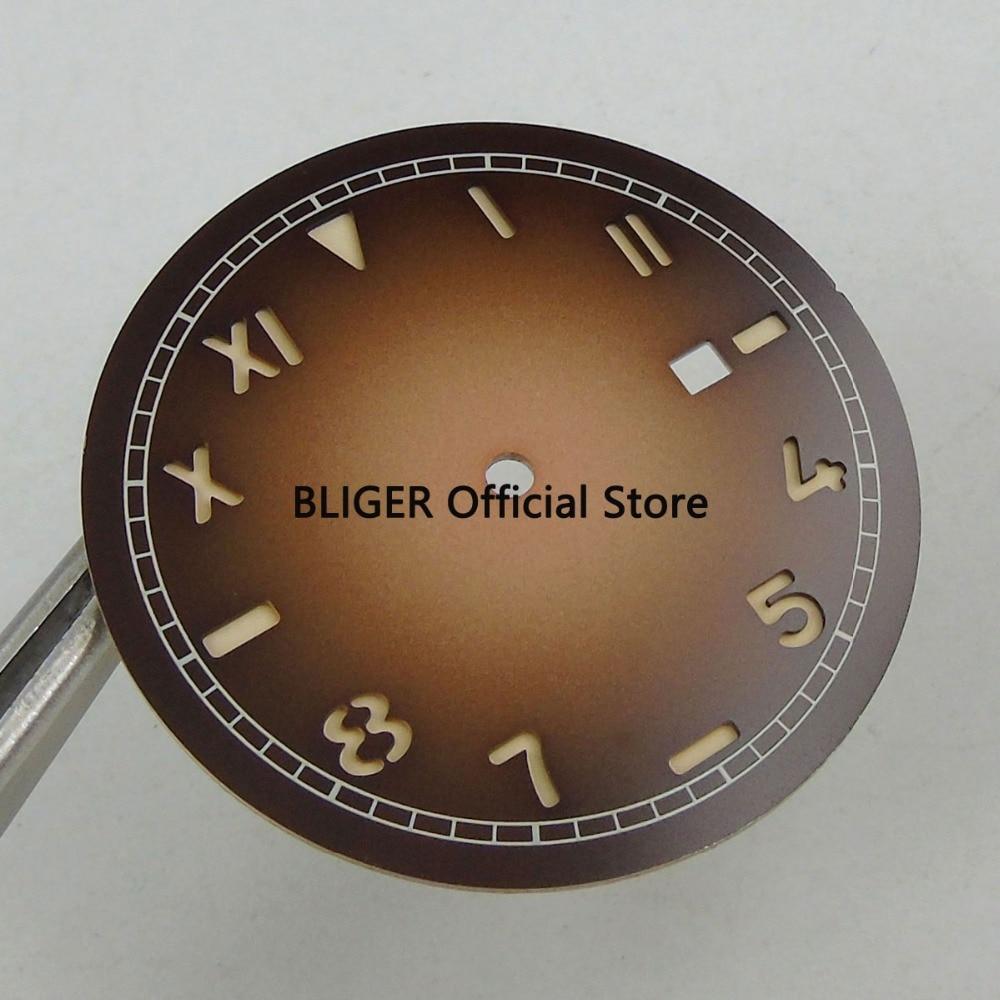 Циферблат для часов Miyota 36 1 Mingzhu 8215 2813 мм кофейный цвет без логотипа светящиеся
