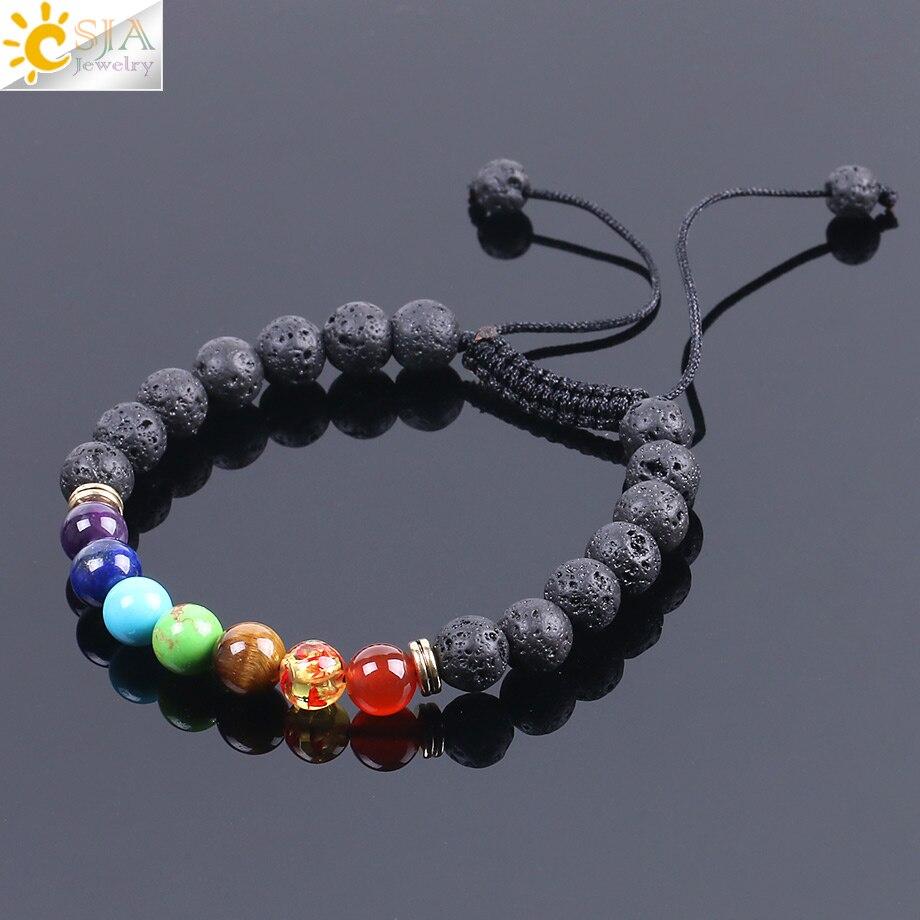 CSJA 8mm Natural Lava Gem Stone Beads Black String Braided Bracelets for Women Men Meditation Reiki 7 Chakra Energy Jewelry F094