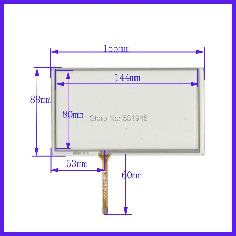 "ZhiYuSun Wholesale 6.2"" inch 155mm*88mm 4 wire Resistive TouchScreen for HSD062IDW1-A00, A01 ,A02 Car DVD navigation  digitizer"