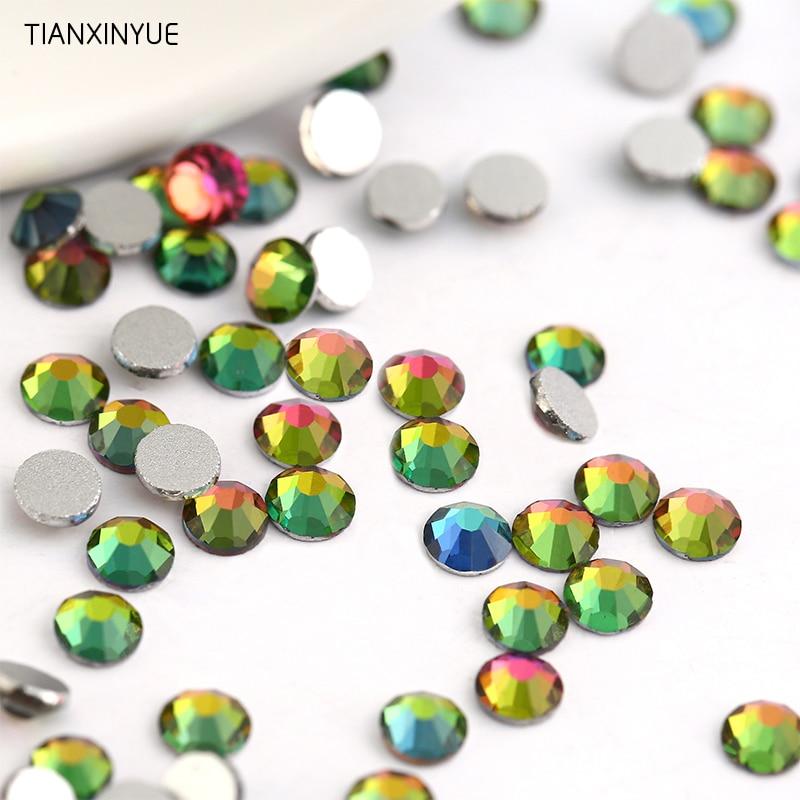Diamantes de imitación para uñas TIANXINYUE, ss3-ss30, arcoíris, sin pegamento, parte posterior plana, en tela y diamantes de imitación de cristal para teléfonos