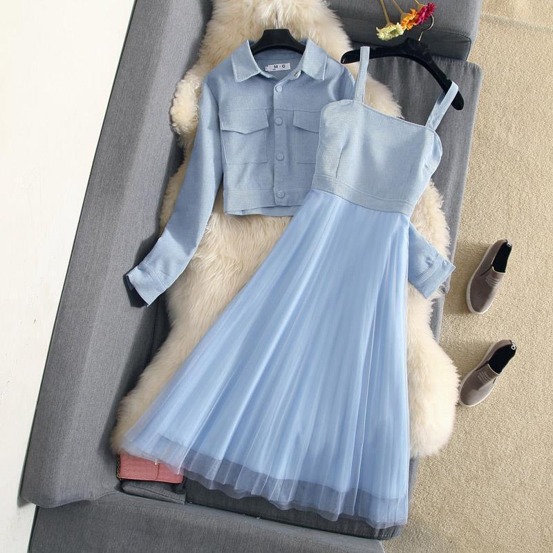 Duas peças conjunto primavera verão nova veludo curto jaqueta topos com malha amarrada costura vestido longo feminino chique elegante define j46