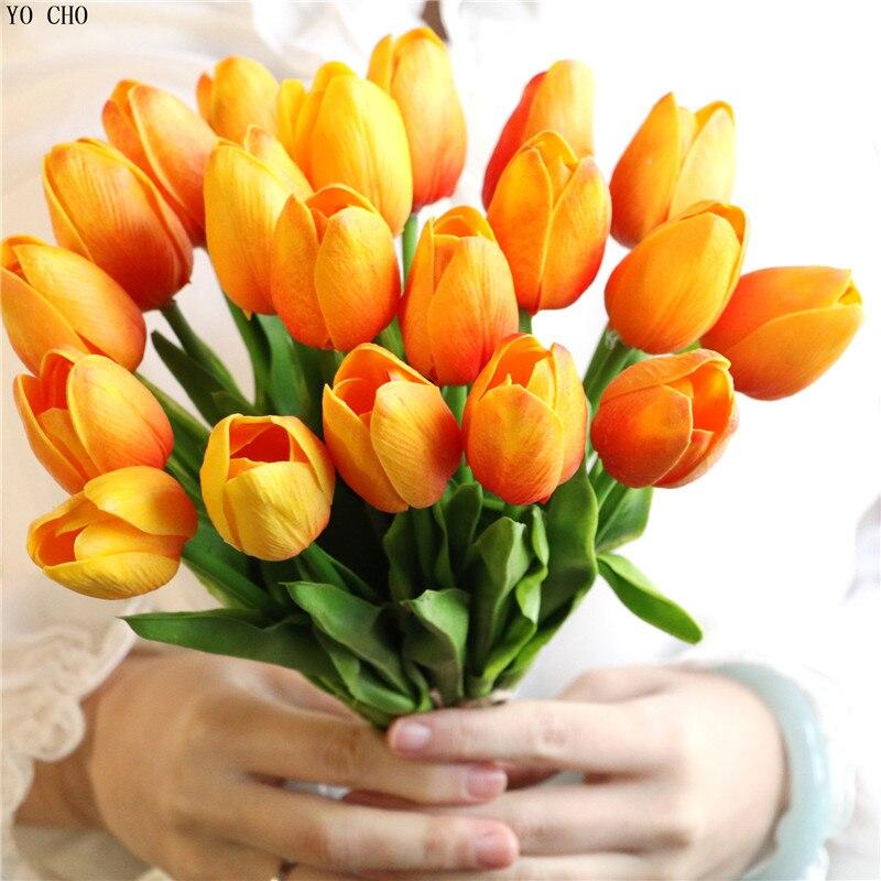 YO CHO 10 unids/lote tulipanes artificiales flores PU Mini Tulip para casa decoración de la boda de fiesta de graduación decoración flores baratas