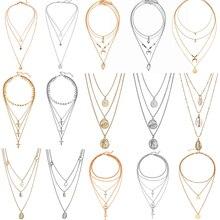 Femmes Vintage coquille étoile pendentif collier 2020 bohème placage or argent couleur couches lune collier ras du cou cadeau de fête