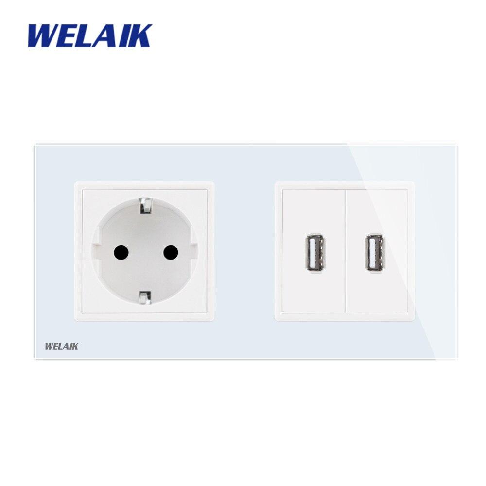 WELAIK  Glass-Panel Wall EU-Power  Socket-Wall-Outlet EU-standard USB-outlet Does-not-include 5V USB-power-module A28E82USW