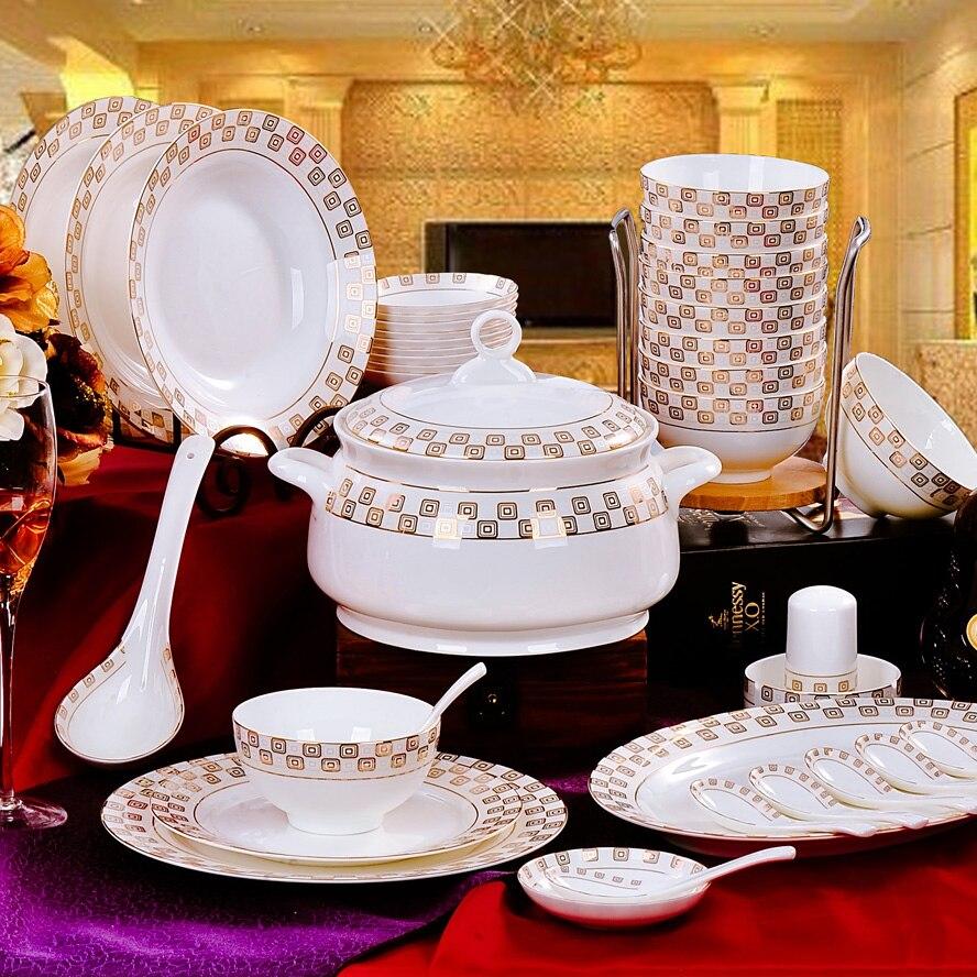 Jingdezhen ceramic tableware 56 bowl dish  bone china tableware suit