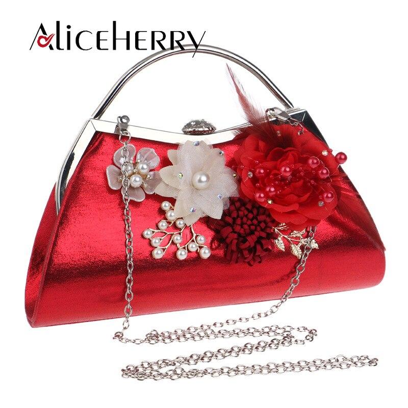 Bolso de noche con cuentas Vintage, bolso de noche bordado con flores de perlas, bolso de mano rojo, bolso de novia a la moda dorado plateado