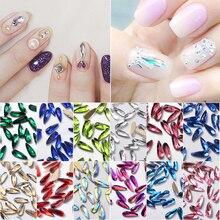 MIOBLET 10pcs Long Waterdrop Shape Nail Art Rhinestones AB Crystal Non Hotfix Flatback Glitters 3D Nails Rhinestone DIY Manicure