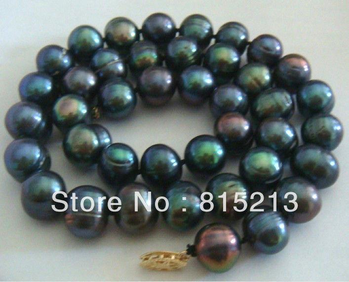 "Envío Gratis> @> N1635 enorme 18 ""11-13 MM NATURAL tahitiano genuino negro Pavo Real azul perla collar"