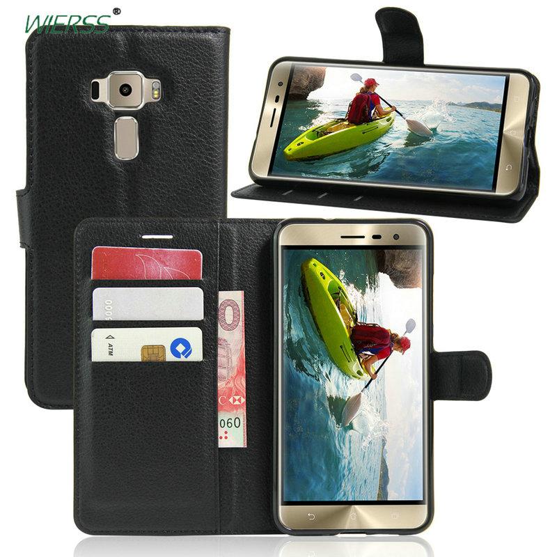 Funda de cuero abatible de alta calidad de lujo para Asus Zenfone 3 ZE520KL funda trasera de teléfono carcasa con ranura para tarjeta + soporte