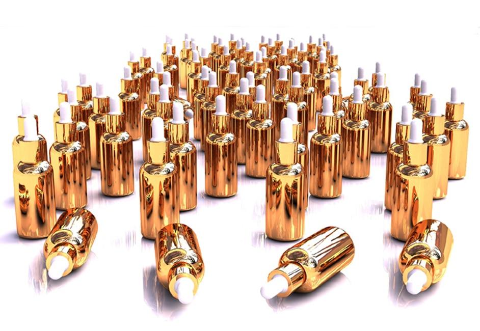 30 قطعة زيت طبيعي فيال التجميل التعبئة زجاجات الذهب الفضة زجاجة لوسيون زجاج زجاجة بالقطارة بالقطارة زجاجة 10 مللي 15 مللي 30 مللي